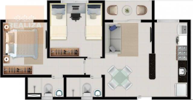 Apartamento com 2 dormitórios à venda, 49 m² no Eusébio. - Foto 4
