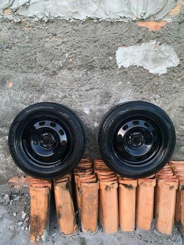 4 Rodas de Ferro aro 15 com calotas 5x100 - Foto 2