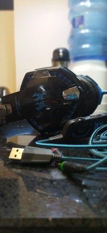 CIC G9000 Fone de ouvido Gamer, Luz LED - Azul - Foto 3