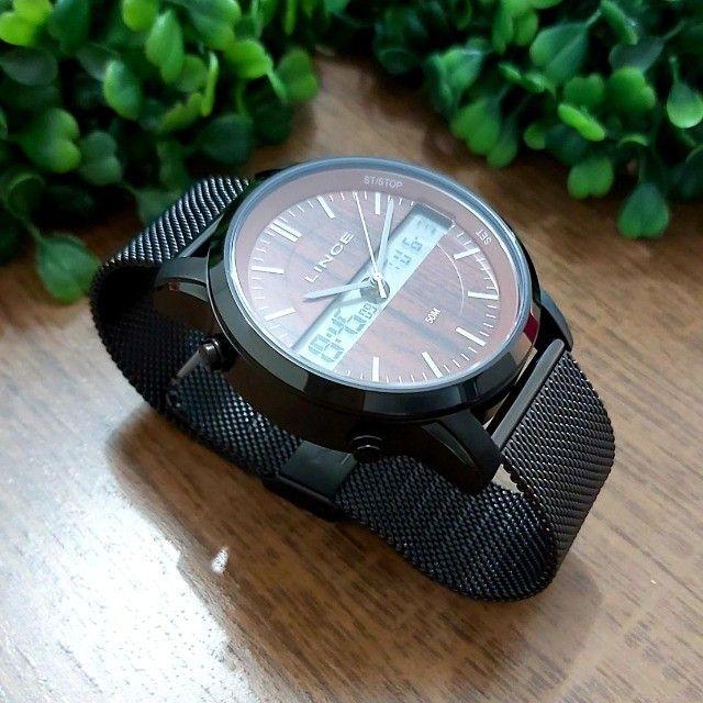 Relógio Lince Masculino Anadigi Preto Mostrador Marrom - Foto 3