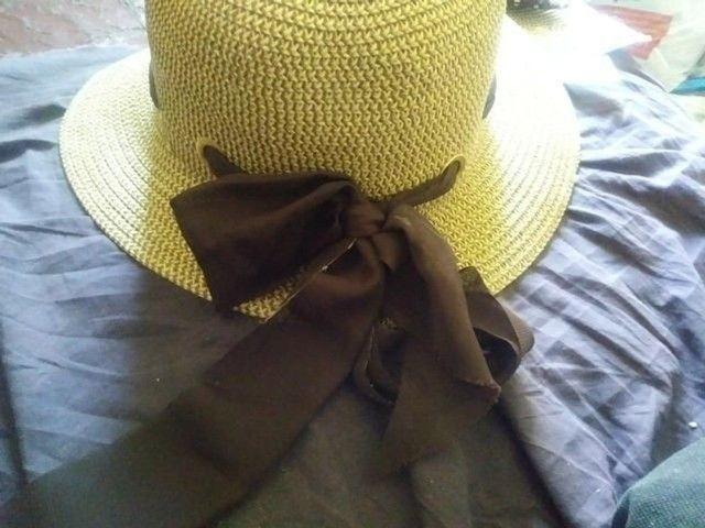 Chapéu Feminino Mulher Laço Fita para Praia Piscina Sol Verão Madame Estiloso  - Foto 3