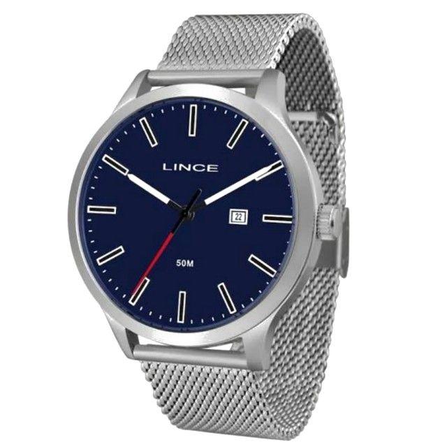 Relógio Lince - Prata com detalhe azul