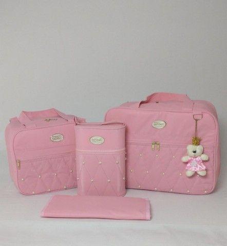 Bolsas maternidade pérolas rosa e rosê - Foto 2