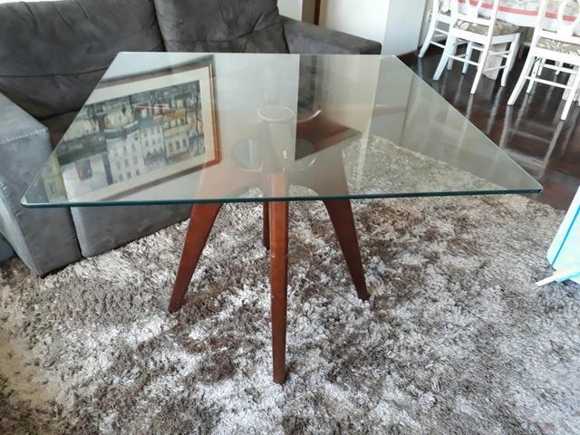 Mesa jantar madeira e vidro