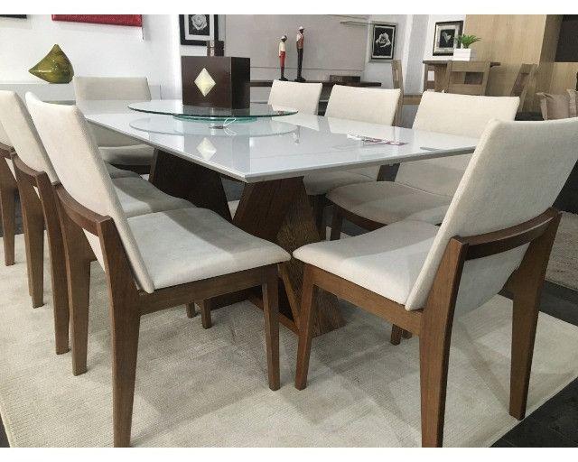 Mesa com 8 Cadeiras com Tampo de Vidro! - Foto 5