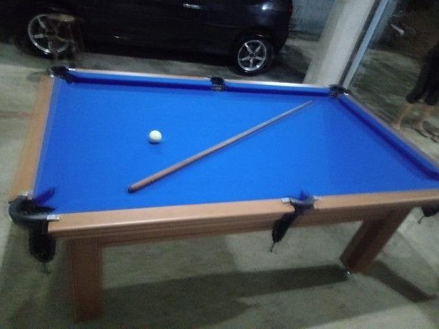 Mesa Tentação Faça o Pedido Cor Cerejeira Tecido Azul Mod. WVIF3544 - Foto 2