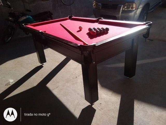 Mesa Tentação Sinuca Cor Marrom Tecido Vermelho Mod. XPSN8563 - Foto 2