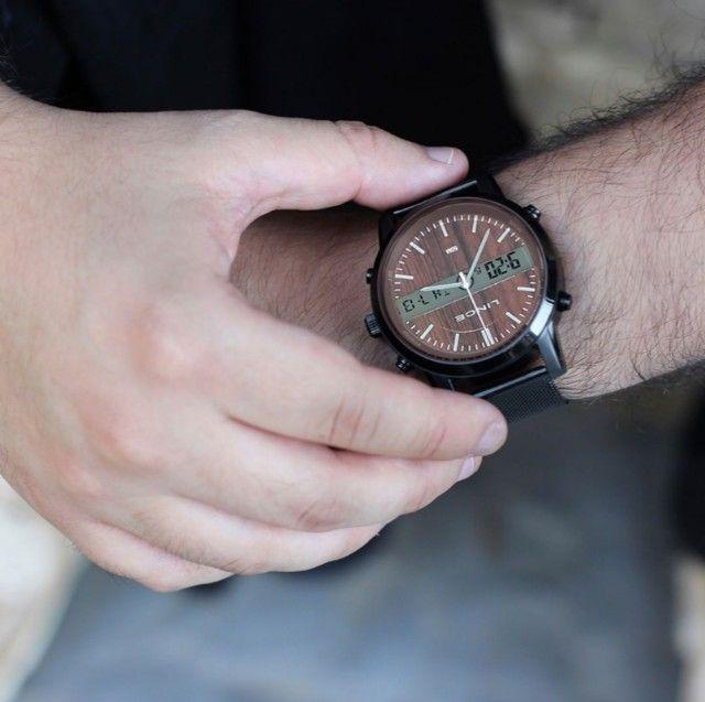 Relógio Lince Masculino Anadigi Preto Mostrador Marrom - Foto 4