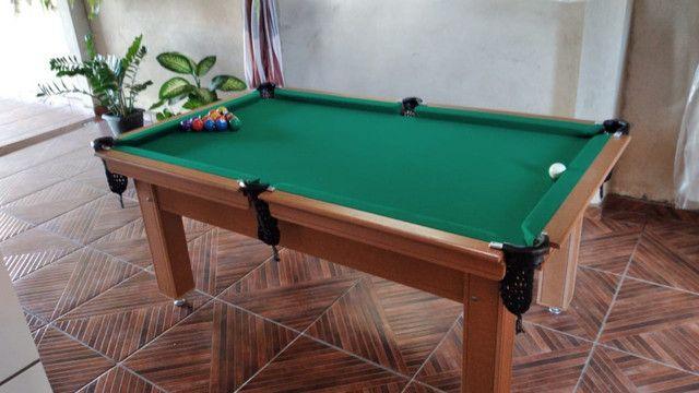 Mesa Tentação Sinuca Cor Cerejeira Tecido Verde Mod. MKYW4929 - Foto 2