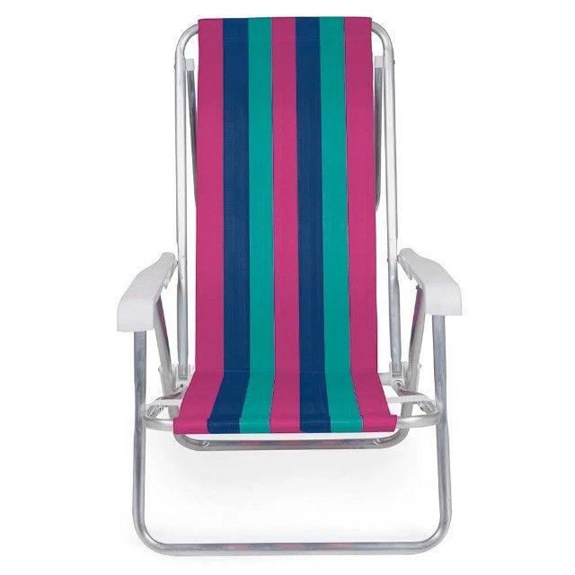 Cadeira Alumínio Reclinável 8 posições Lilás MOR - Foto 2