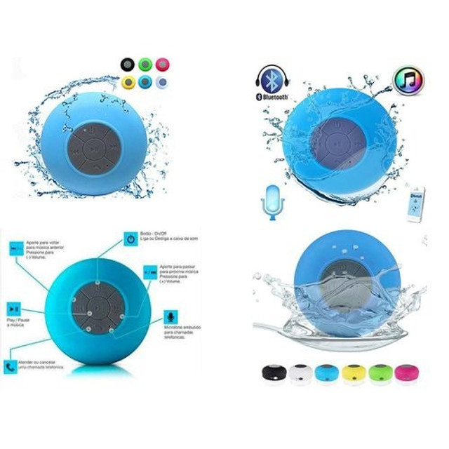 Mini Caixinha Som Bluetooth Portátil Prova Água Ventosa