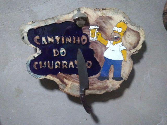 Placa de madeira Cantinho do Churrasco - Foto 2
