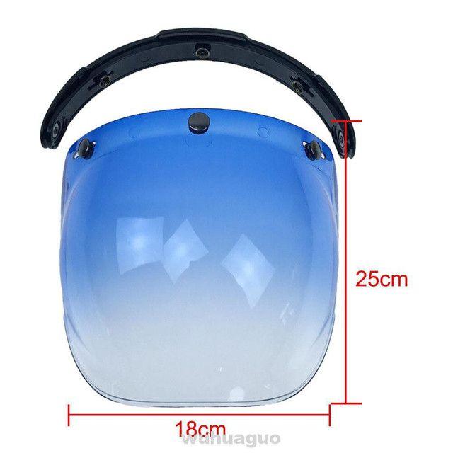Viseira bubble bolha Azul degradê para capacete com Flip  - Foto 2