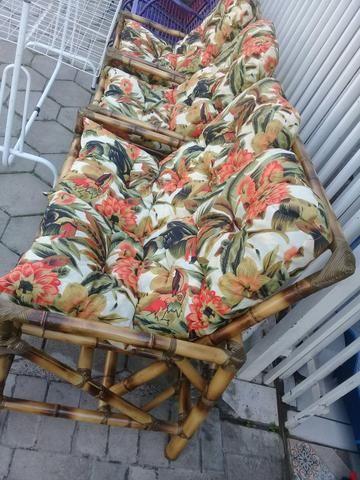 Conjunto novos de Cadeira de Bambu cana da Índia 4 lugares