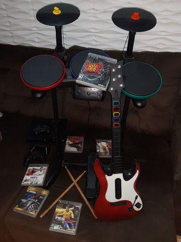 Bateria/Guitarra Guitar Hero + PlayStation 3 Ps3  + Jogos  - Foto 3