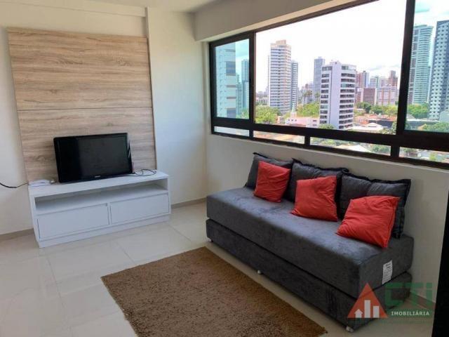 Flat com 1 dormitório para alugar, 40 m² por R$ 2.000,00/mês - Madalena - Recife/PE - Foto 3