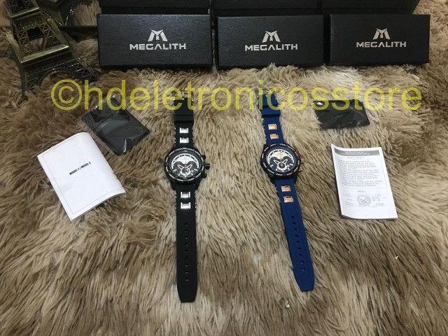 Relógio Megalith Esportivo DE pulso Silicone Original, A prova de agua