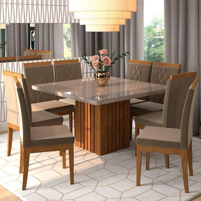 Mesa com 8 Cadeiras com Tampo de Vidro! - Foto 2
