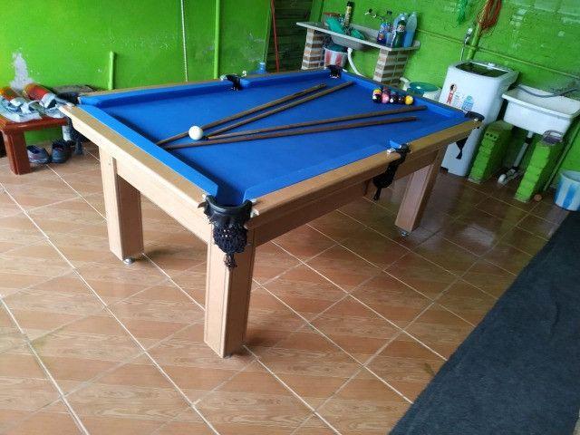 Mesa Tentação e Jantar Cor Cerejeira Tecido Azul Mod. CETJ8970