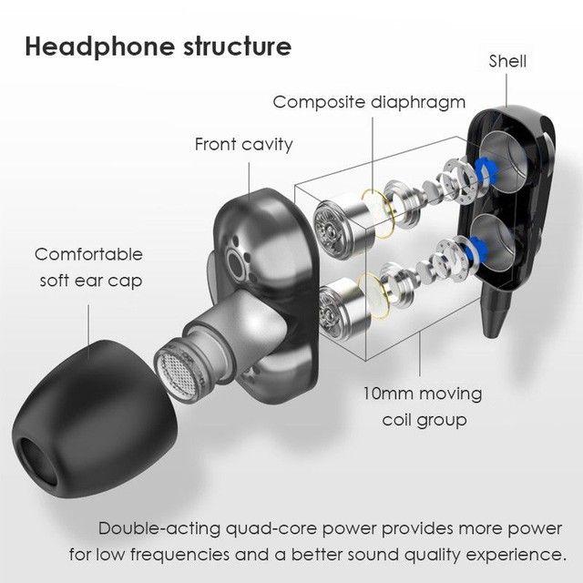 4D Bass Stereo Earphone Double Speaker 3.5MM Earphones - Foto 5