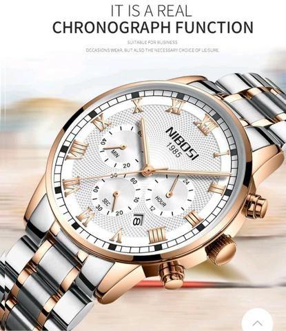 4f8ef92895f Relógio Masculino Nibosi 2339 Original 30m Prata  dourado ...