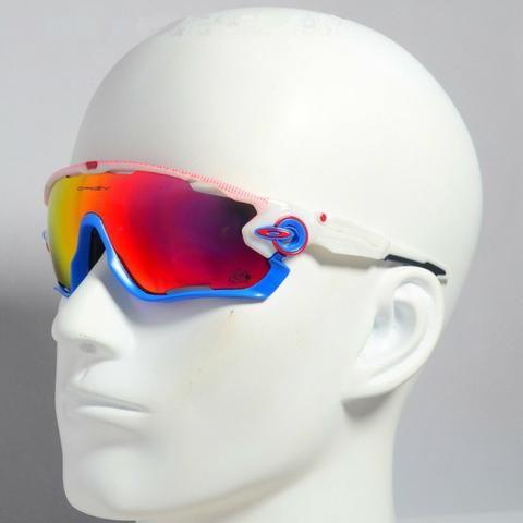 1ee92a1a4 Óculos Oakley Jawbreaker Armação Branca/Azul Prizm C/ 4 Lentes Reserva -  Ciclismo -