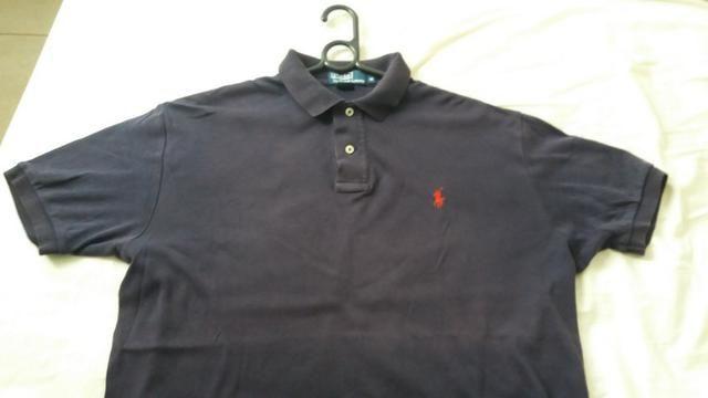 Camisa Polo Ralph Lauren masculina Tam M grande cor roxa escura forma G eb55cf5f923