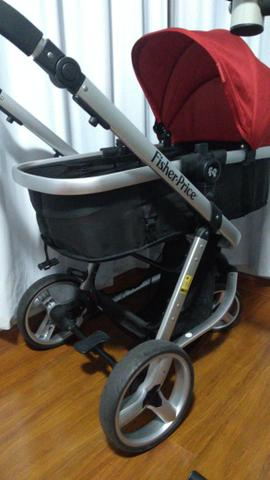 Carrinho Moisés + Bebê conforto c/ base isofix Fischer Price - Foto 4