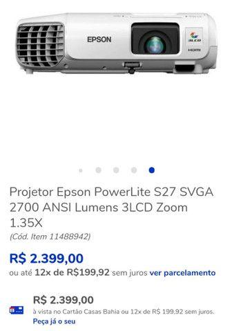 Projetor Epson s27 + tela 1.80x1.80 - Foto 4