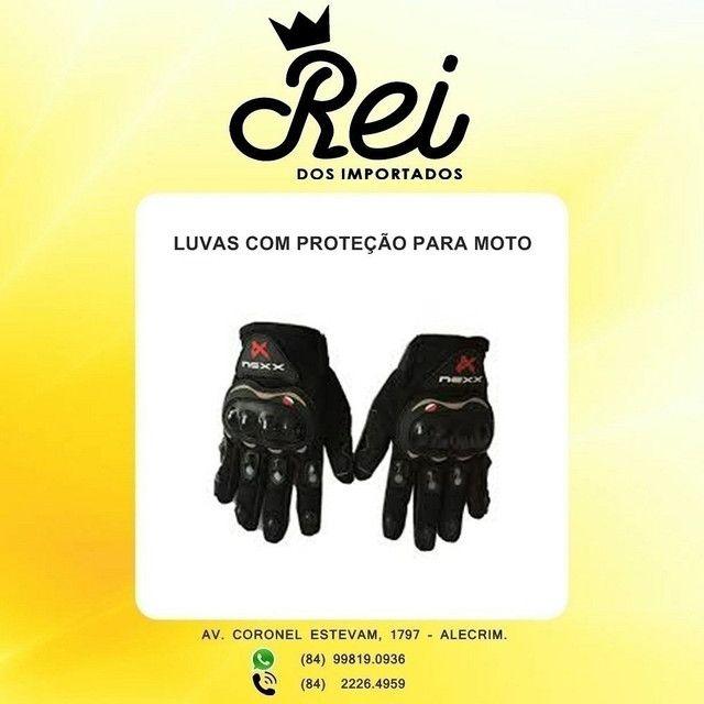 Luva de proteção na frente e atrás para motoqueiro ou ciclista