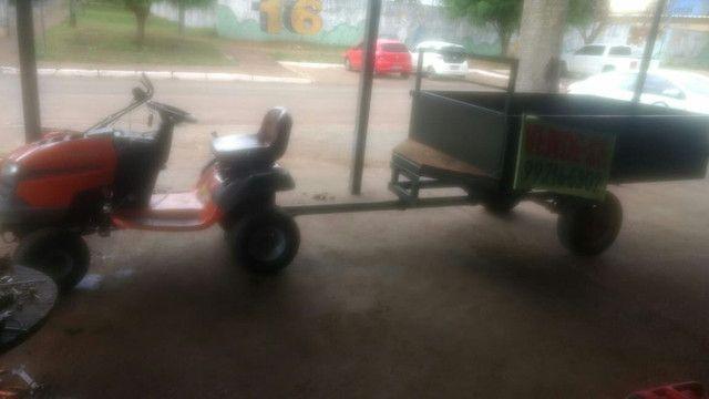 Vendo tratorzinho cortador de grama e carretinha basculante - Foto 3
