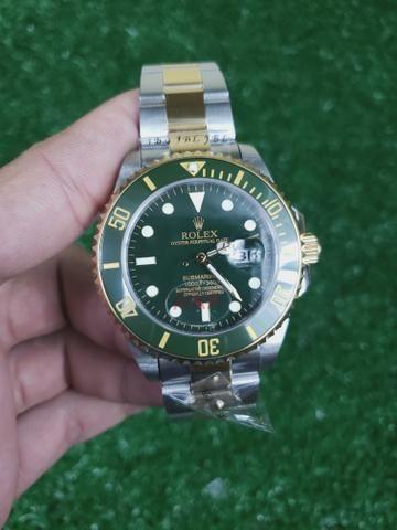 7c15a815820 Relogio rolex submariner automático aço dourado couro borracha ...