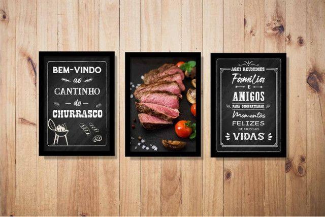 Quadros Decorativos Cantinho do Churrasco Área Gourmet Lazer Com Moldura e Vidro - Foto 3