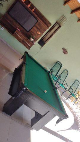 Mesa Charme de Sinuca e Bilhar Cor Preta Tecido Verde Mod. LGVA5128 - Foto 3