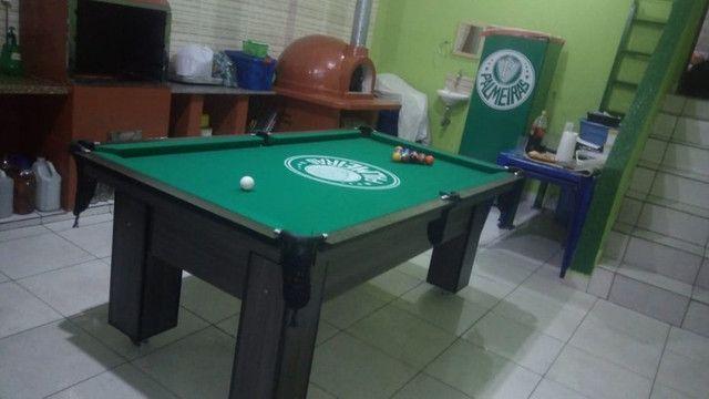 Mesa Charme de 4 Pés Cor Dakar Tecido Verde Logo Palmeiras Mod. TZFP8921 - Foto 2