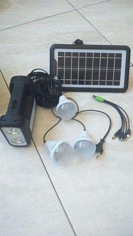 Kit Painel Placa Solar Portatil 3 Lâmpada Led Luz Emergência - Foto 2