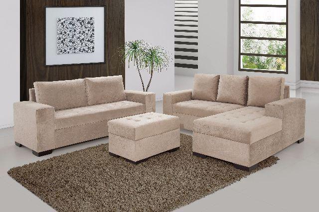 Sofá de 3 e 2 lugares + Chaise e Puff