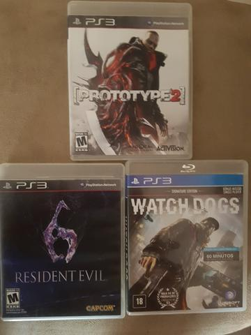 3 Jogos PlayStaion 3 (Resident evil 6 + Watch Dogs + Prototype)