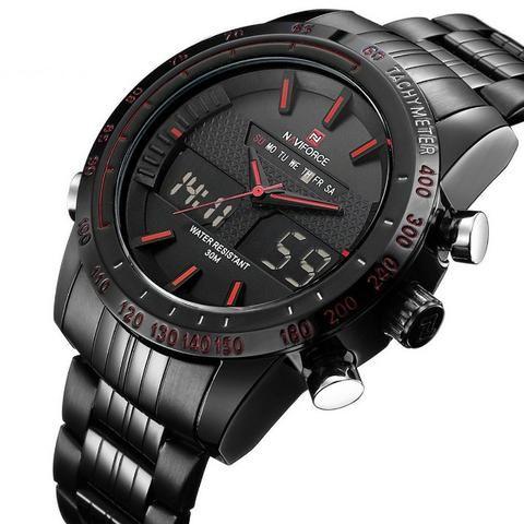 b4bdb93d6db Relógio De Pulso Masculino Naviforce Quartzo Aço Led 9024 ...