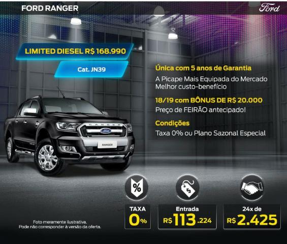 Ford Ranger CD Limited 4x4 3.2 Diesel AUT *2018/2019* - 0KM - Taxa zero em até 36X