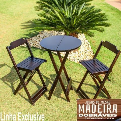 Mesas e cadeiras de madeira dobráveis 70x70 - 120x70 e Bistrô! Novos com garantia!! - Foto 6