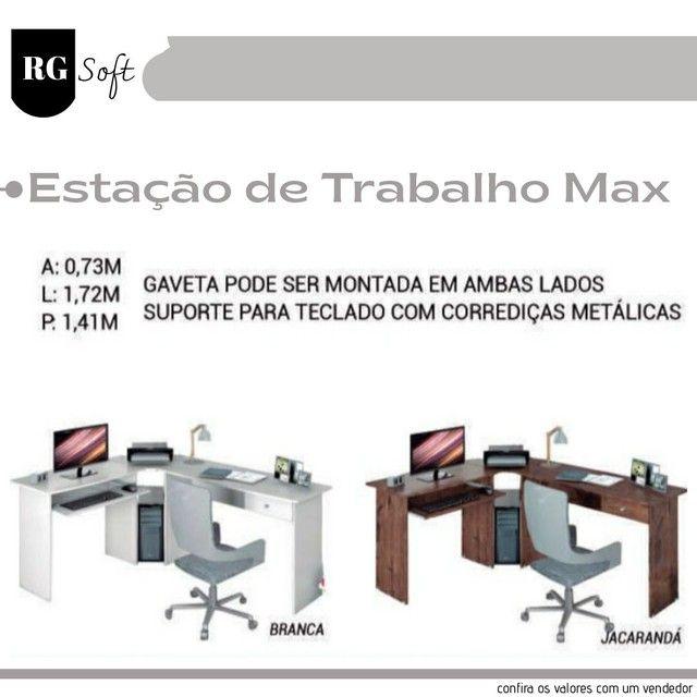 Mesa de canto lateral com suporte para teclado e gaveta ENTREGO