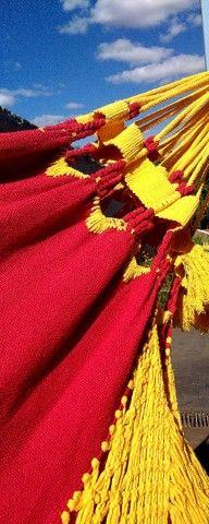 Rede de Descanso Vermelho/ Amarelo - Varanda em Macramê - Foto 2