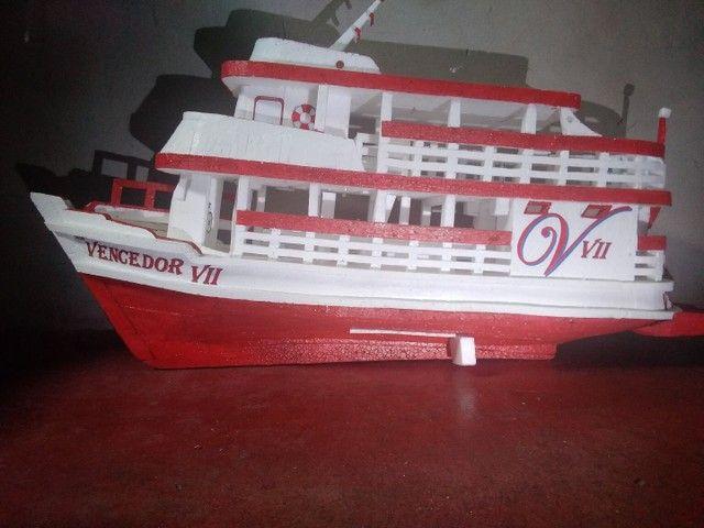 Miniatura de barco regional feito de isopor com 74cm de comprimento  - Foto 3