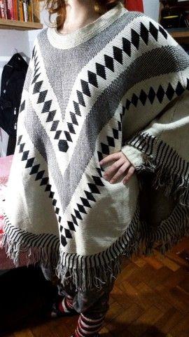 Poncho de tricot tamanho único - Foto 2