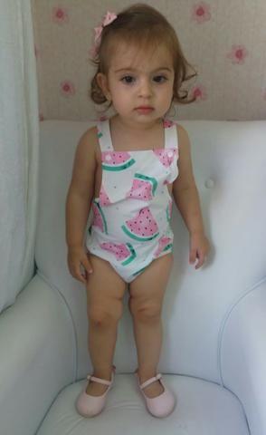 Body Macacão Unicórnio Flamingo Melancia Caveira Infantil Cupcake - Foto 3