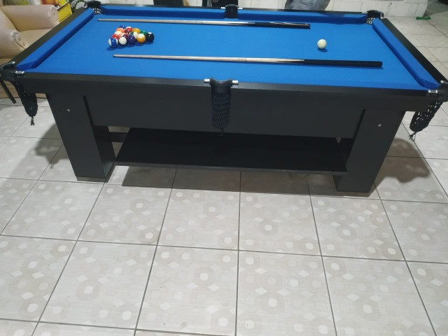Mesa Charme Semi Oficial Cor Preta Tecido Azul Mod. KPSN8229 - Foto 3