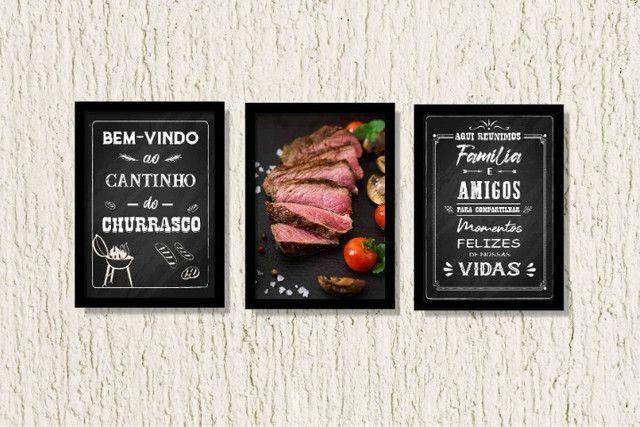Quadros Decorativos Cantinho do Churrasco Área Gourmet Lazer Com Moldura e Vidro - Foto 2