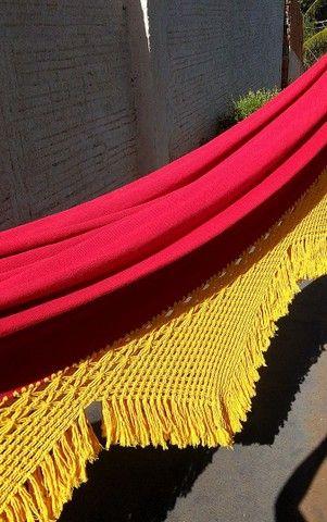 Rede de Descanso Vermelho/ Amarelo - Varanda em Macramê