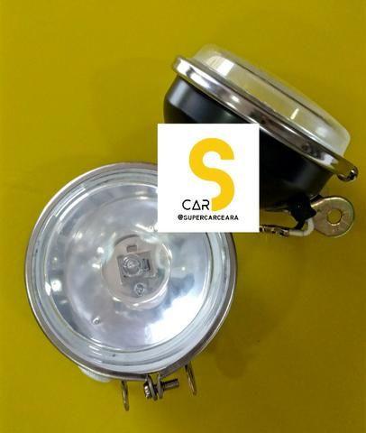 KIT Farol Milha Universal com lâmpadas (lente vidro)